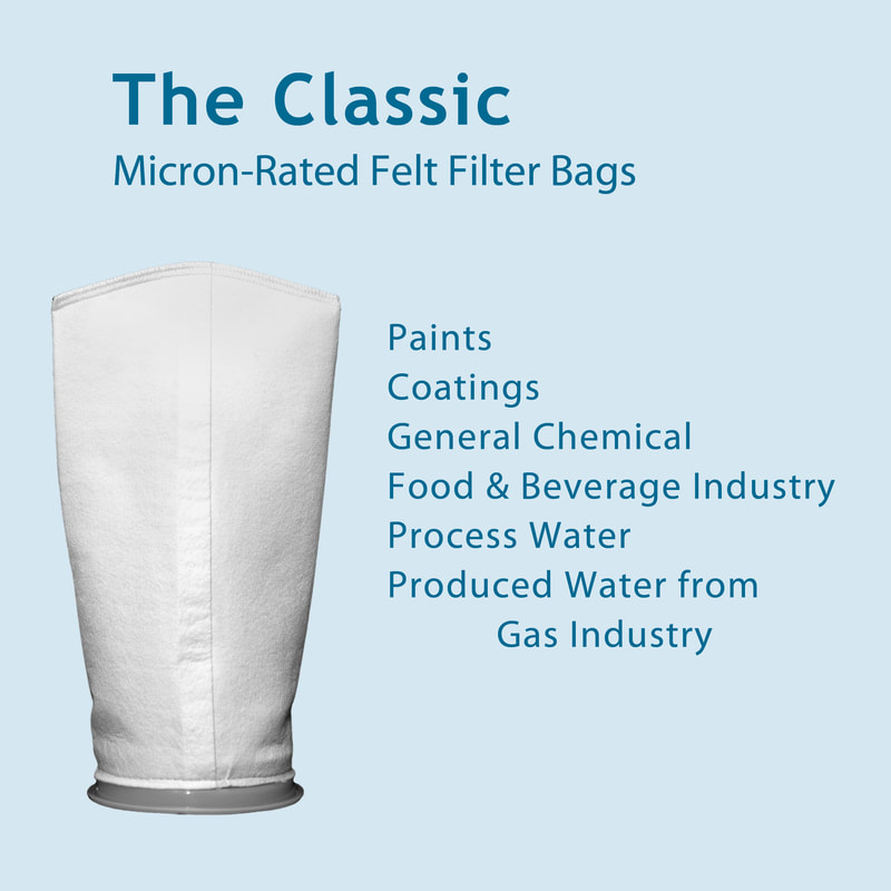 Filter, liquid filtration, cartridges, Strainrite, filter bag, classic, micron-rated, stitched