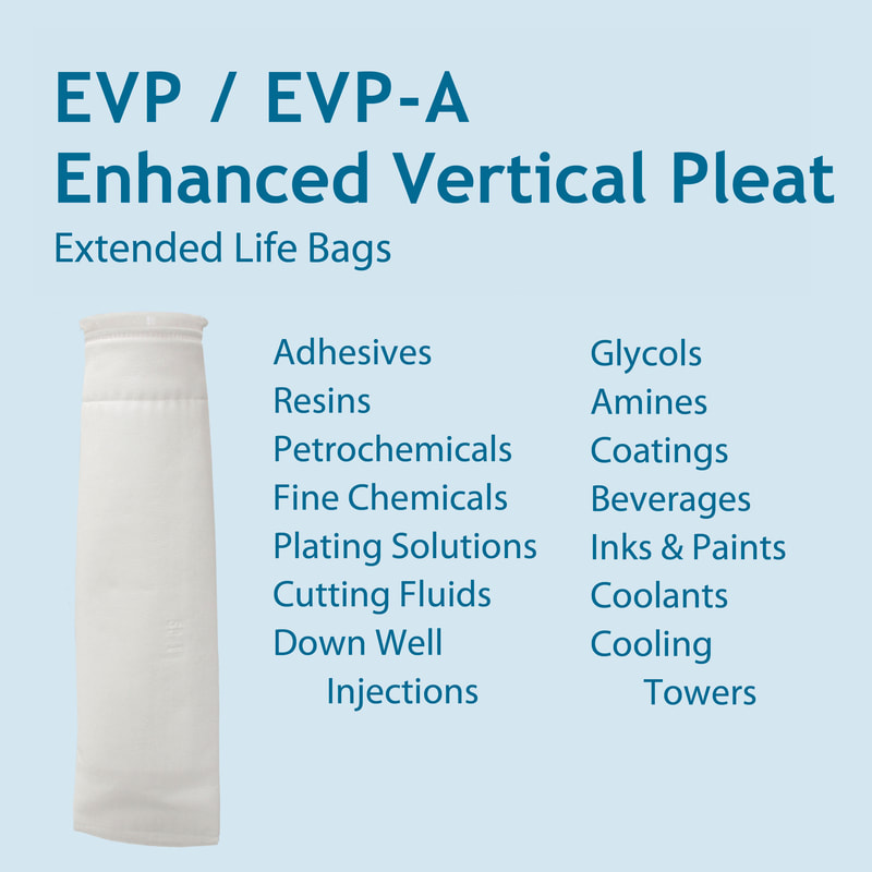 Filter, liquid filtration, cartridges, Strainrite, filter bag, evp, evp-a, absolute-rated, nominally rated, enhanced vertical pleat