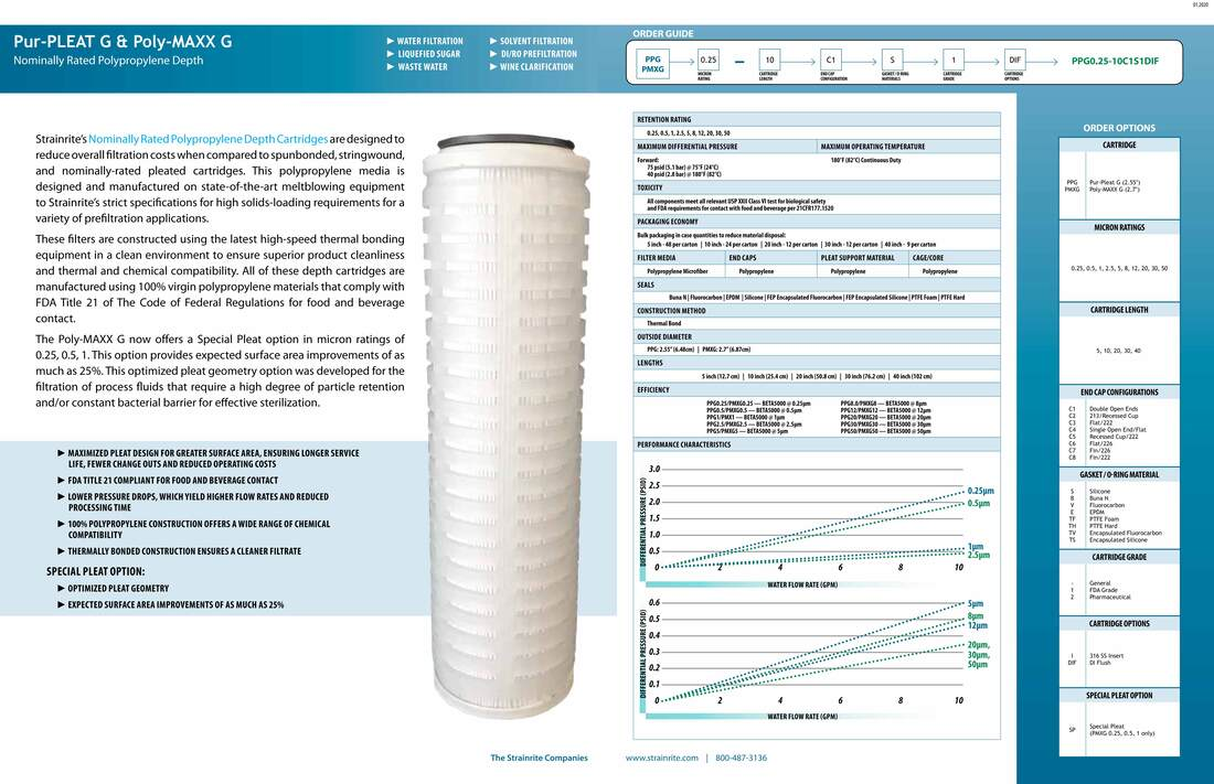Filter, Clarity, liquid filtration, cartridges, Strainrite, pleated, pur-pleat, poly-maxx, depth, polypropylene, nominally rated