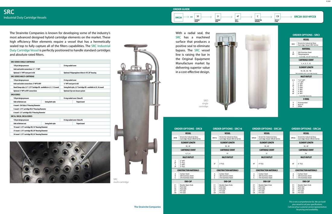 Filter, liquid filtration, Strainrite, Clarity, filter vessels, vessels, housing, cartridge, src, srci, src8, src16, src20, src26, industrial duty