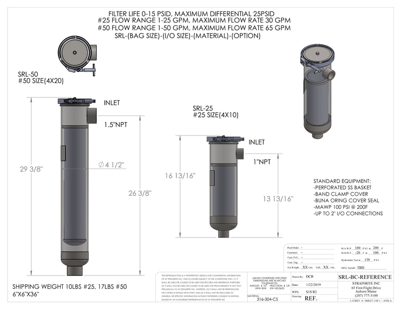 Filter, liquid filtration, Strainrite, filter vessels, vessels, housing, madd maxx, band camp, swing-away, bolt closure, srl, low flow