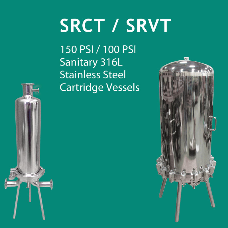 Filter, liquid filtration, Strainrite, Clarity, filter vessels, vessels, housing,  stainless steel, sanitary, srct, srvt, cartridge